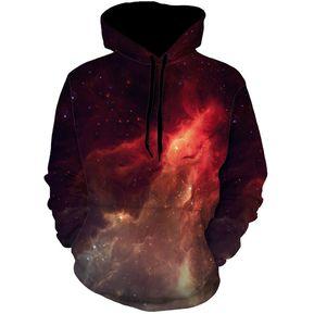 Sudadera Hombre Con Capucha Y Estampados De Nebulosa - Rojo d5d00358a7f7