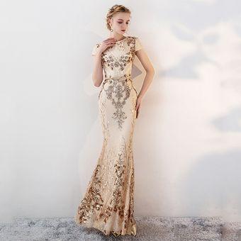 Oro De Lujo Vestidos Largos De Noche Precioso Brillante Pieza De Cue