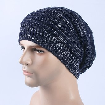 007df963307bc Autumn Winter Stripe Tejer Sombrero Calido Gorro De Lana (azul Oscuro)
