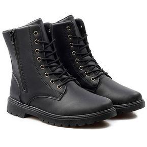 eed7e13537e Zapatos Hombre Botas de Cuero para Hombre con Cordones Botas-Negro