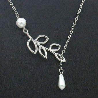 b643543d2ee7 Compra Moda encanto joyas perla hoja cadena collar para mujer ...