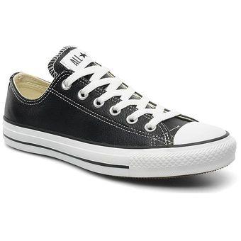 d741ac0418 Tenis Converse All StarChuck Taylor Cuero Ox Lo 132174C para All Star-Negro  con Blanco