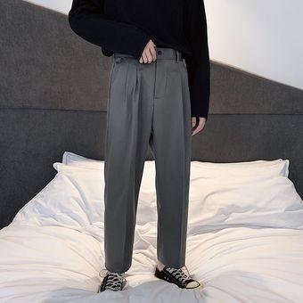 Pantalones Rectos Finos De Verano A La Moda Para Hombre Pantalones De Vestir De Negocios De Color Liso Pantalones Sueltos De Estilo Coreano Para Hombre Xyx Gray Linio Peru Ge582fa0rno5rlpe