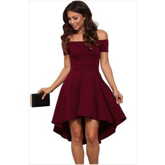 b95db06e7 Compra Vestido Sin Hombro Estilo Sexual Y Elegante De Color Vino ...