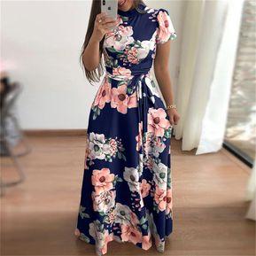 1ca91ee83 Vestido de estilo Boho impresión Floral de verano-Azul