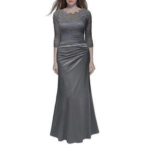 Vestidos Mujer Largo Elegante Vestido De Encaje Vestidos De Fiesta-Gris ef9838d4229a