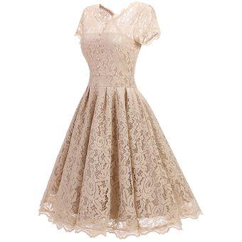 Vestido Casual Generico Manga Corta Gasa Sólido Princesa Falda Albaricoque 55c597ec8e8d