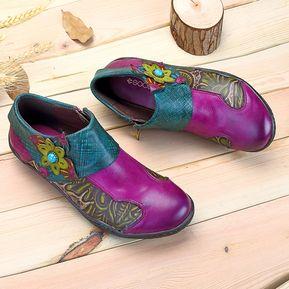 9c280425 SOCOFY Zapatos De Cuero De Patrón De Planta De Empalme Impresa