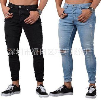 08cb37e522 Calida Pantalones De Mezclilla Con Agujeros Para Caballero Jeans  Hombre-negro