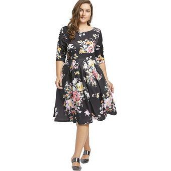Vestido De Cintura Imperio Con Estampado De Flores Negro