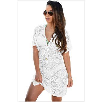 9b5b6e2e2e6a Vestido para playa con mangas cortas estilo casual color en blanco