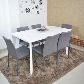 Compra comedor 6p lugo blanco sillas tela gris online for Muebles atlantico norte
