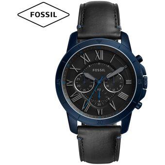 0ae9effc9858 Compra Reloj Fossil Grant FS5342 Cronometro Correa De Cuero - Azul ...