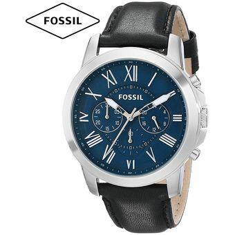 2ed326a13b7b Reloj Fossil Grant FS4990 Cronometro Acero Inoxidable Correa De Cuero -  Negro Azul