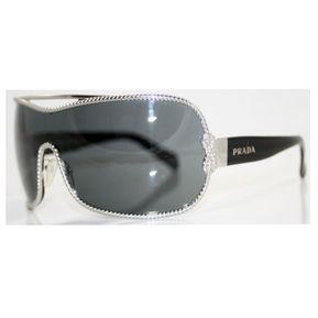 Lentes De Sol Prada Opr 62hs 5av1a1 Silver   Black Con diseño plata de  varilla negra 6b228593483e