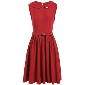 Vestido Casual Sin Mangas Falda Grande Yucheer Rojo c4d07693278b