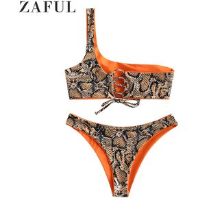4988be43d3eb ZAFUL Bikini reversible de un solo hombro reversible de piel de serpiente