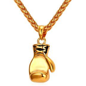 bdafd7d22599 Agotado U7 Collar Colgante Con Dije De Guante De Boxeo Chapado En 18K Oro  Cadena De Trigo