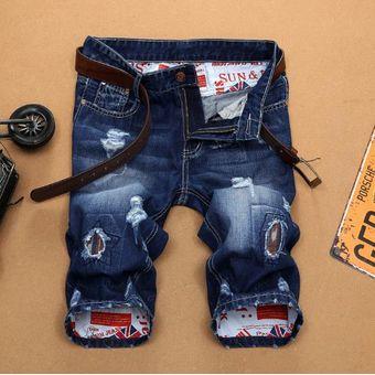Nueva Moda En Pantalones Vaqueros Cortos Rasgados Para Hombre Ropa De Marca Bermudas Pantalones Cortos De Algodon 100 Para Verano Pantalones Cortos De Tela Vaquera Transpirables Para Hombre Talla 28 38 Color 13158 Linio