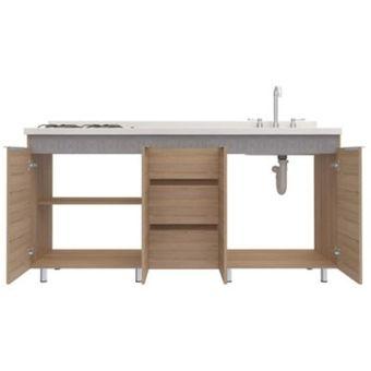 Mueble Inferior para Cocina 4 Puertas 3 cajones 88x179x51 - Rovere