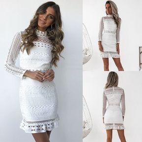 781fe7df73d84 Vestido Casual E-Thinker mujer elegante de encaje y cuello alto con huecos  - Blanco
