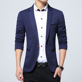 2018 Moda Marca Blazer Hombres Trajes Casuales Hombres Blazer Traje-Azul 8b28c08b75d