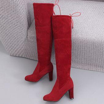 6d6899232 Compra Botas PU Mate Con Tacón Para Mujer - Rojo online