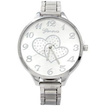 278ff5b343c3 Agotado Reloj Para Mujer Análogo Clásico Corazones De Fondo Plateado Correa  De Metal Cristal Mineral