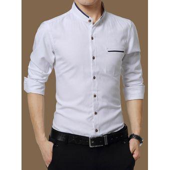 69167450e0 Camisas Hombre De Manga Larga De Negocios De Cuello De Pie De No Plancha  -Blanco