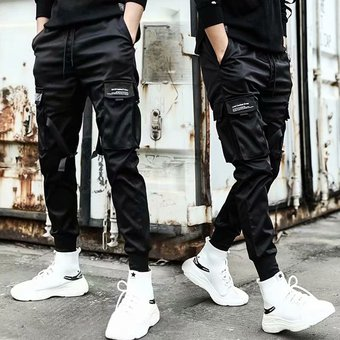 Pantalones Cargo Con Cintas Ropa De Calle Informal Para Hombre Pantalones Harajuku Estilo Hip Hop Pantalones Cenidos Informales A La Moda Para Jovenes Pantalones Para Correr Con Estilo Para Hombre Jun White571 Linio