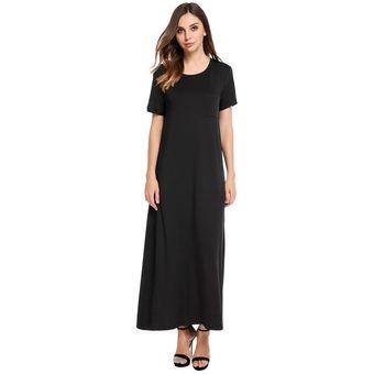 df3ed1d2dc Mujeres Casual O-cuello Manga Corta De Bolsillo Sólido Largo Vestido -Negro