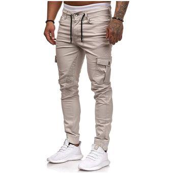 Pantalones De Otono Para Hombre Pantalones Haren De Hip Hop Pantalones De Primavera Para Hombre Pantalones Ajustados Con Multiples Bolsillos De Patchwork Pantalones De Chandal Informales Jun Em217 Beige Linio Peru