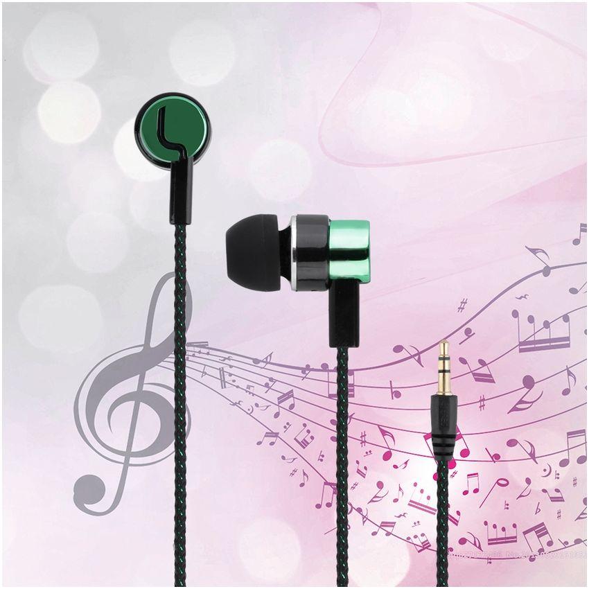 EH Audifonos Auricular Alambre Tejido Verde