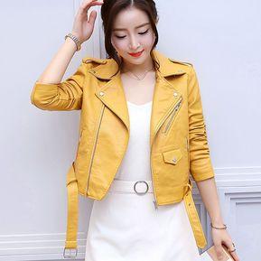 298d4ad3f8397 Abrigo De Mujer De New Fashion Chaquetas De Cuero De Imitación - Amarillo