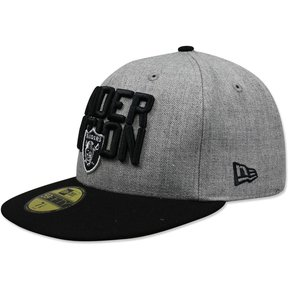 Gorra New Era 5950 NFL 2018 Raiders Draft Gris Negro 9aa6707a05c