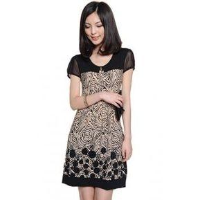 ea8accea7c8 Vestido Casual OL Elegante Manga Corta Floral Yucheer Para Mujer-Negro Con  Beige