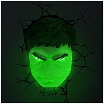 Hulk Marvel Decorativa Light Cabeza Pared Lampara 3d Verde Y6f7bgy