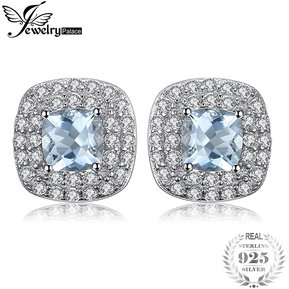 50159458de35 Aretes Jewelrypalace Genuino Aguamarina Halo 925 Plata Esterlina