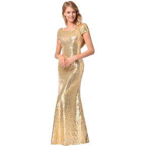 2c849bf78f5 Vestido de Noche Generic Dama de honor Lentejuelas Vestidos de noche de las  mujeres Dorado