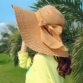 Las Mujeres Ronda De Verano Playa De Paja Flat Top Hat Bowknot Pac Sun  Diseño 37997abeaea