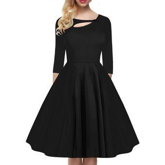 98cef033b Años 50 Estilo Vestido Con Estampado Floral Partido Blanco Vestido Negro  Elegante Mujer Vintage Vintage Mujer