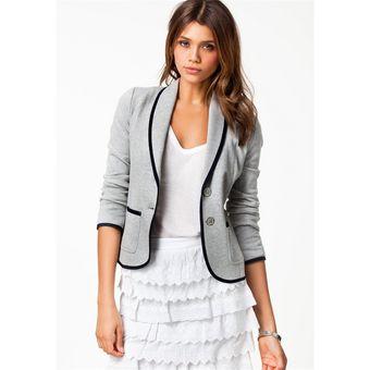 comprar online 0115c 81c61 Abrigo Corto Blazer Delgado Casual Para Mujer -gris