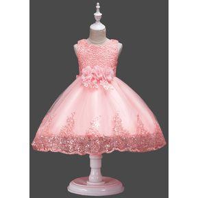 0c7c98e50 Chica encaje lentejuelas vestido princesa falda -Rosa claro