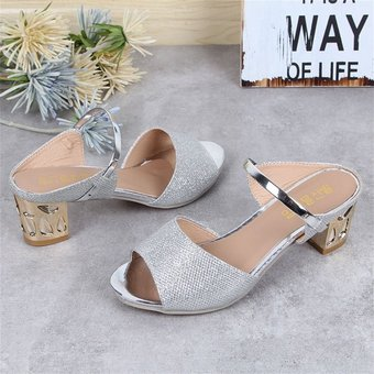 b6a850ec4555 Women Casual Sandals Soft PU Platform Wedges Thick Mid-heeled Shoes Peep-toe  Silver