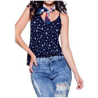 912ee37eb Agotado Blusa Juvenil Femenino Marketing Personal 33279 Azul Estampado