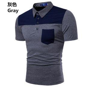 Camisa Polo Para Hombre Casual Tops Hombre Primavera Y Verano Nueva-Gris f4b5ec1c81358