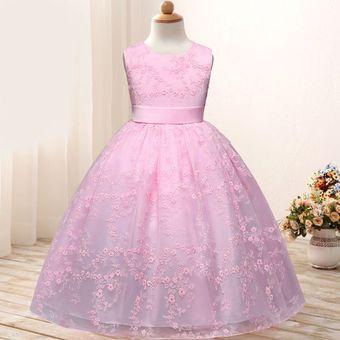 Boda Vestidos De Princesas Para Niñas Largos Sin Manga Rosa