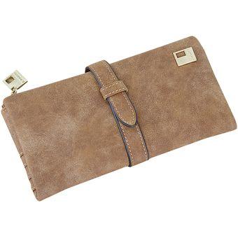 119aee178 Compra Cartera de cuero con cremallera billetera para mujer-café ...
