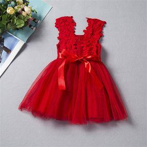 bed7b7bfe EH Navidad Las Niñas Vestido De Encaje De Ganchillo Hilo-Rojo