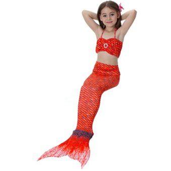 Bikini Niños Xl De S Naranja Sirenas Para VeranoSet Tres Conjunto 8kX0OPnw